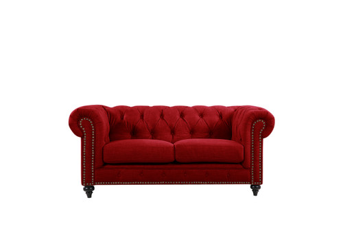 SOLOMONIA  2 - SEATER SOFA  UPHOLSTERED IN VELVET FABRIC -  (MODEL - 3-8-5-18-19-5-18-6-9-5-12-4) -  RED