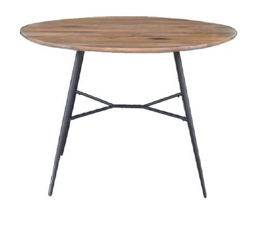 LEXINGTON 1100(W) ROUND DINING TABLE WITH METAL LEGS  - BURNT WAX / BLACK