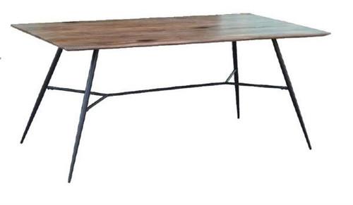 LEXINGTON 1800(L) RECTANGULAR DINING TABLE WITH  METAL LEGS   - BURNT WAX / BLACK