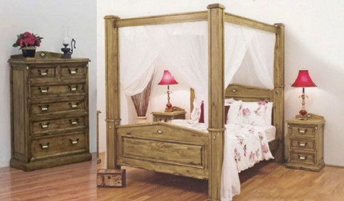 SUFFOLK KING  POSTER SOLID TIMBER 4 PIECE (TALLBOY) BEDROOM SUITE - BLACKWASH