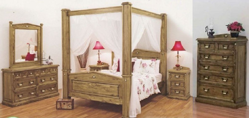 SUFFOLK POSTER KING SOLID TIMBER 6 PIECE (THE LOT) BEDROOM SUITE - BLACKWASH