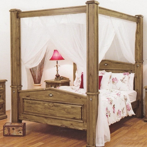 KING  SUFFOLK POSTER SOLID TIMBER BED - BLACKWASH