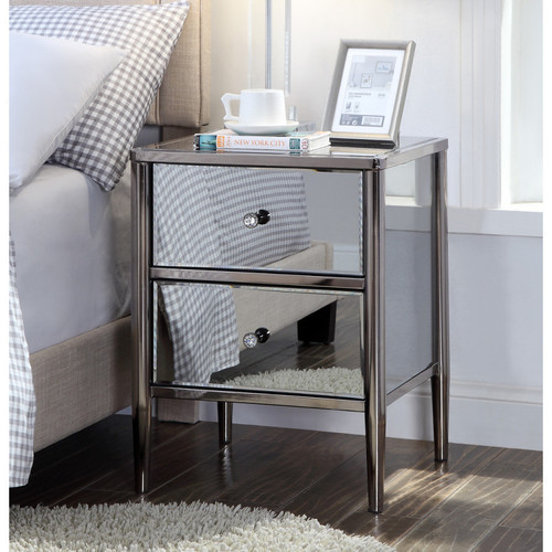 SAN PEDRO 2  DRAWER SMOKE MIRROR  BEDSIDE TABLE - BLACK / GREY NICKEL PLATED