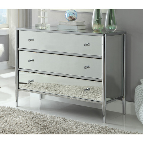 SAN PEDRO 3 DRAWER  MIRRORED LOWBOY CHEST - CHROME PLATED