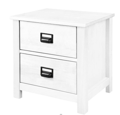 OSCAR TIMBER BEDSIDE TABLES WITH 2 DRAWERS - (20-1-19-13-1-14) - WHITE