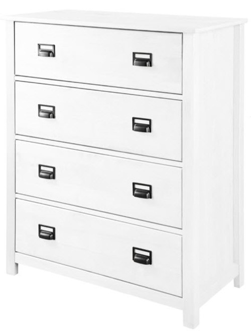 OSCAR TIMBER TALLBOY CHEST WITH 4  DRAWERS - (20-1-19-13-1-14) - WHITE