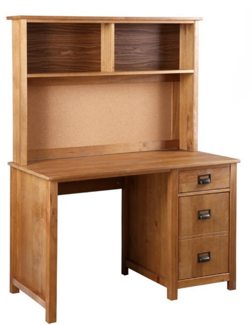 OSCAR TIMBER 3 DRAWER  DESK WITH HUTCH - (20-1-19-13-1-14) - NATURAL