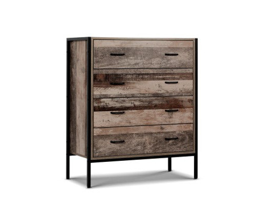 KELLAN INDUSTRIAL TALLBOY CHEST  WITH 4 DRAWERS  - NATURAL