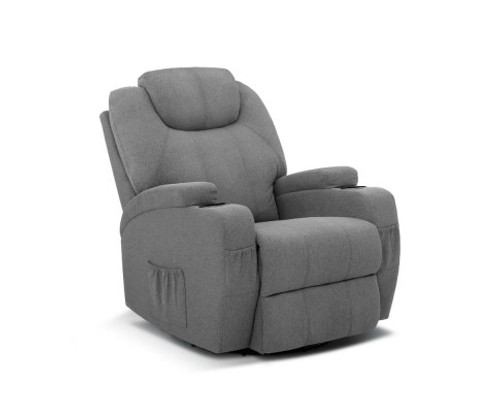 KERNER FABRIC RECLINER  8 POINT  HEATED MASSAGE  SWIVEL CHAIR - GREY