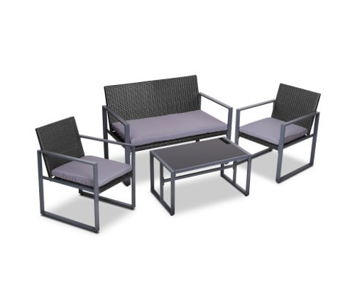 GARDEON 4 PIECE OUTDOOR FURNITURE - TABLE WITH 3 X CHAIRS  BLACK
