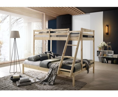 CELINA TRIO - SINGLE OVER DOUBLE BUNK BED - NATURAL