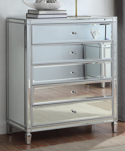 ELLAVEST (928) 5 DRAWER MIRRORED TALLBOY CHEST WITH WHITE WOOD FRAME- 1200(H) X 800(W)  - SILVER