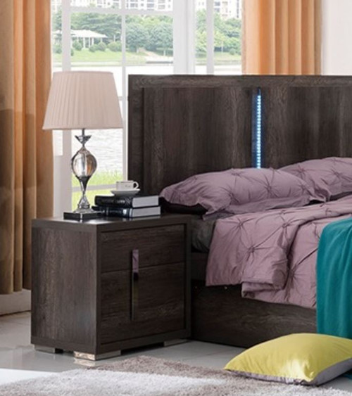 YONKERS BEDSIDE TABLE WITH 2 DRAWERS - ( 13-15-14-1-3-15)  - CHARCOAL OAK