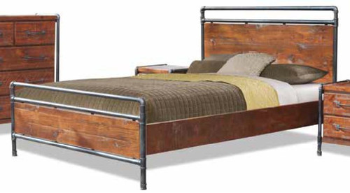 QUEEN HARBOUR TUBE INDUSTRIAL BED FRAME -  LIGHT ROUGH SAWN