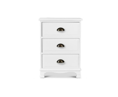 VANITY 3 DRAWER  BEDSIDE TABLE - WHITE  - FREE SHIPPING