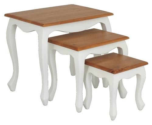 QUEEN ANN NEST OF TABLE (SET OF 3) - WHITE  / CARAMEL