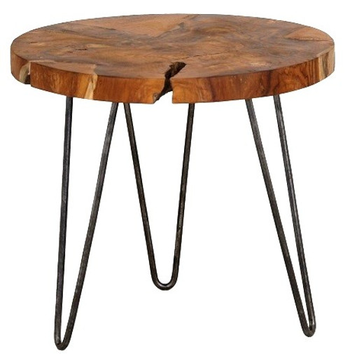ROOT TEAK ROUND SIDE TABLE WITH IRON LEGS - NATURAL / BLACK