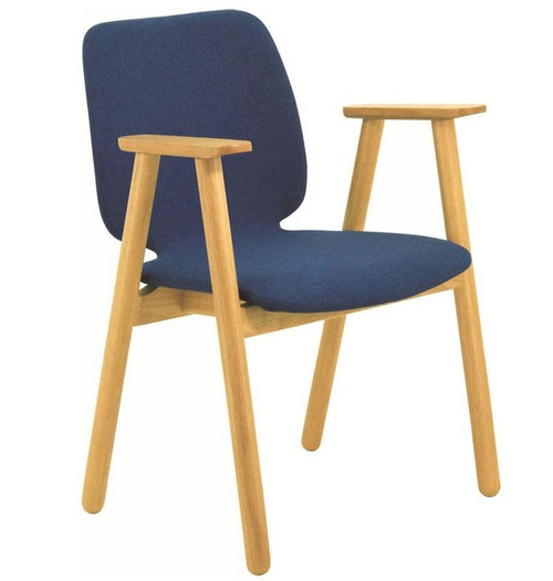 MISSIE FABRIC  ARM CHAIR  - MIDNIGHT BLUE / OAK