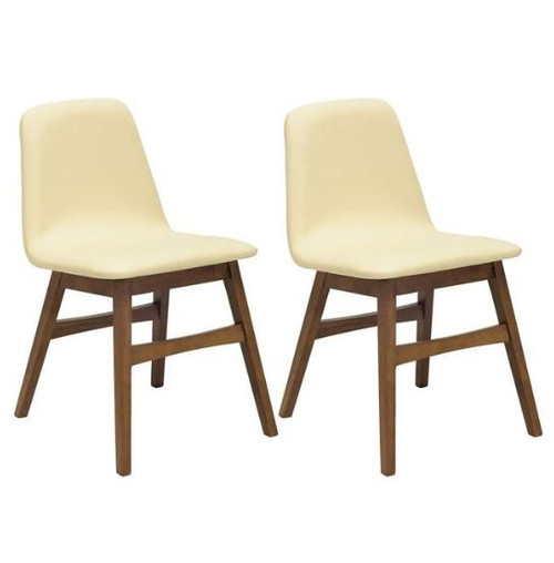 AVICE MODERN  DINING CHAIR (SET OF 2) - CREAM / COCOA