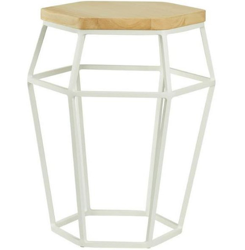 FORD  OCCASIONAL ROUND SIDE TABLE - NATURAL / WHITE