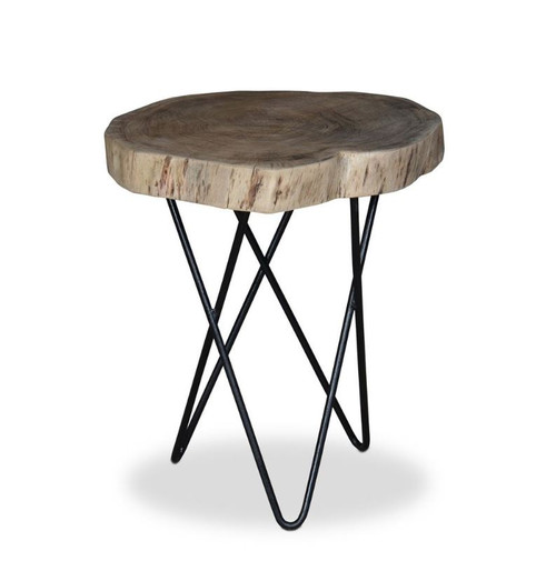 KYLO IRON AND WOOD ROUND SIDE TABLE - NATURAL /BLACK