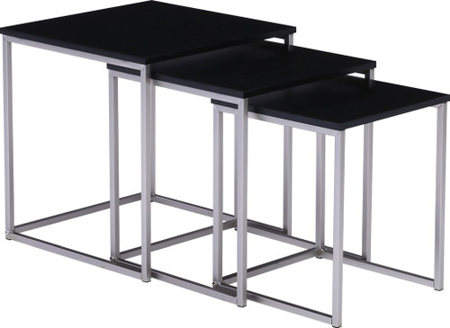 MELOR  SET OF 3 NESTED TABLES - BLACK / NICKEL