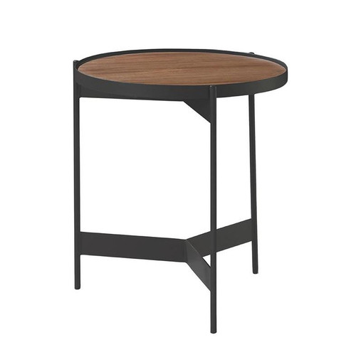 CHIARA ROUND SIDE  TABLE -RUSTIC BROWN