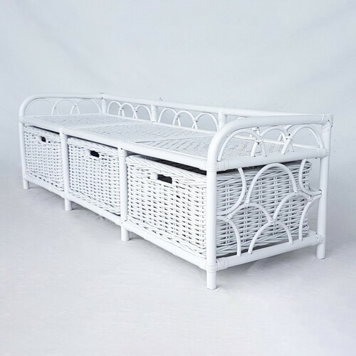 HENRY (DET859LW) RATTAN  BENCH  WITH 3 BASKET - WHITE