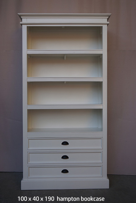 HAMPTON  BOOKCASE WITH 3 DRAWERS (DET636) - 1800(H) X 960(W)  -WHITE