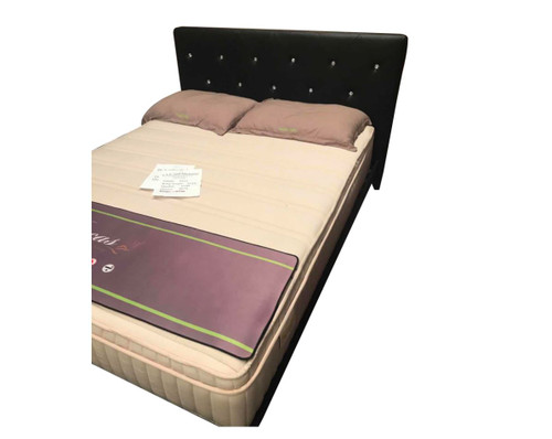 QUEEN DIAMONTEY LEATHERETTE BED - BLACK