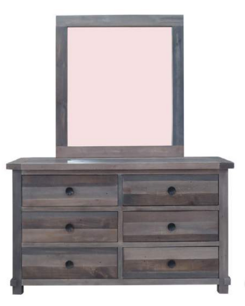 GENEVA 6 DRAWER DRESSING TABLE WITH MIRROR - HEIRLOOM