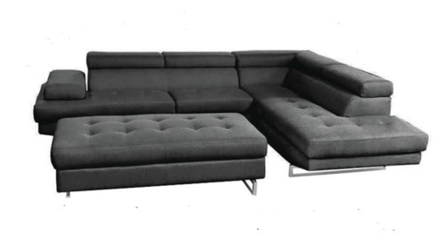 SALOON CHAISE LOUNGE WITH FOOTSTOOL  - BLACK OR BROWN