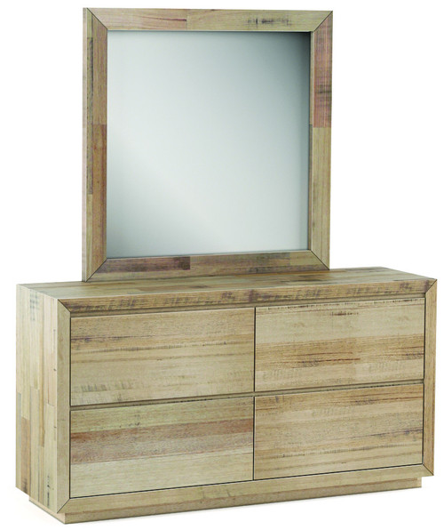 ROWAN 6 DRAWER TASMANIAN OAK  DRESSING TABLE & MIRROR SET -  NATURAL