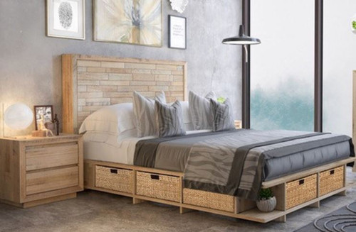 ROWAN TASMANIAN OAK  KING  3 PIECE (BEDSIDE)  BEDROOM SUITE -  NATURAL