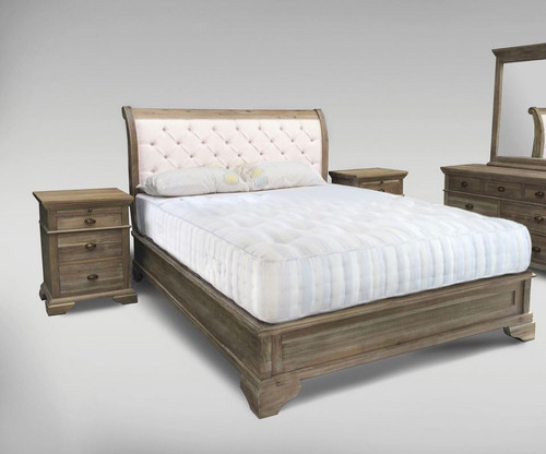 UPWAY KING 4  PIECE TALLBOY  BEDROOM SUITE-  (9-2-126-1) - NATURAL / LIGHT OATMEAL
