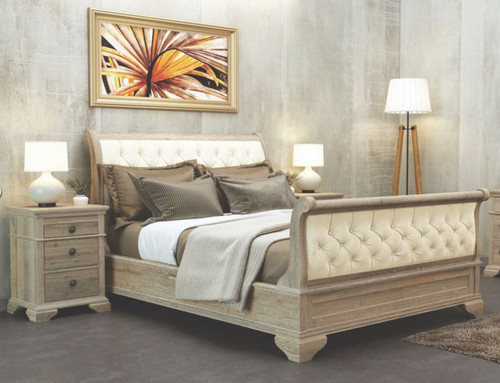 UPWAY KING SLEIGH 4 PIECE TALLBOY  BEDROOM SUITE -  (9-2-126-1) - NATURAL / LIGHT OATMEAL