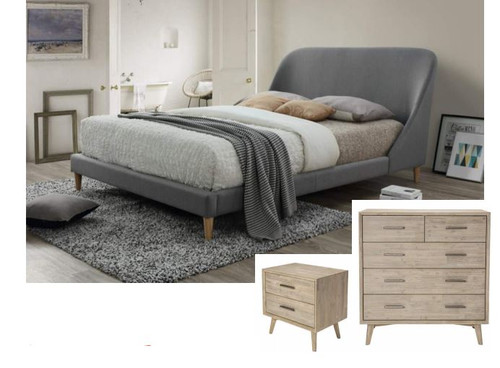PHOENIX KING 4 PIECE TALLBOY BEDROOM SUITE - FABRIC & TIMBER COMBINATION