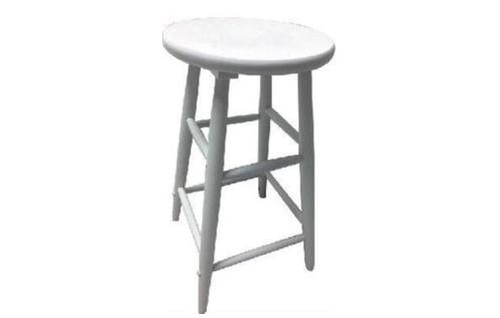 SCOOP ROUND TOP WOODEN STOOL  68 CM - WHITE