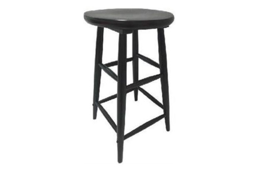SCOOP ROUND TOP WOODEN STOOL  68 CM - CHOOLATE