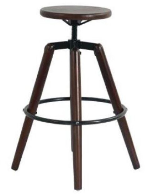 BUXTON ADJUSTABLE STOOL  575  -715 MM  HIGH - WALNUT