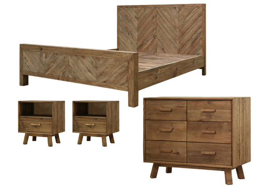 MANDALAY QUEEN 4 PIECE TALLBOY  BEDROOM SUITE  - NATURAL