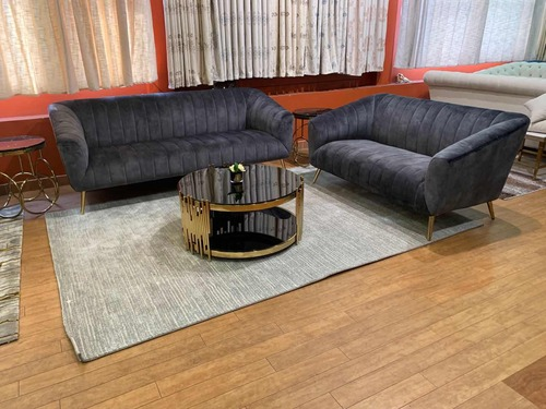 ASHFIELD  3 + 2 SEATER VELVET FABRIC  LOUNGE - DARK GREY