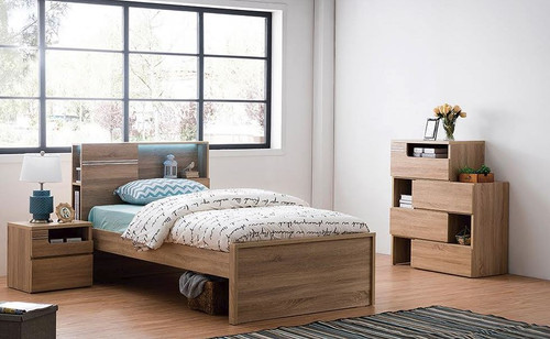 GABBY SINGLE OR  KING SINGLE  3 PIECE BEDROOM SUITE WITH SINGLE TRUNDLE   (MODEL LS 112) - VINTAGE OAK