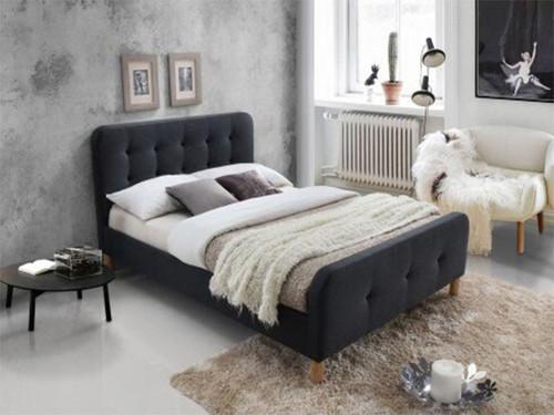 DOUBLE BRAYNON FABRIC BED FRAME (2-18-1-25-4-5-14) - DARK GREY