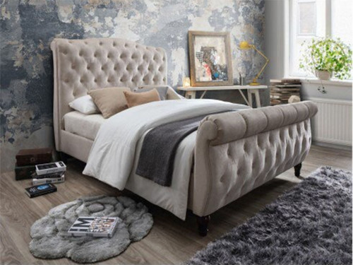 DOUBLE CHESTERFIELD MICROFIBRE FABRIC SLEIGH BED - CREAM