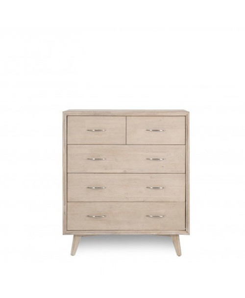 LORRETTA  5 DRAWERS SPLIT TOP TALLBOY (MODEL:3-15-18-18-9-5) - DRIFTWOOD FINISH