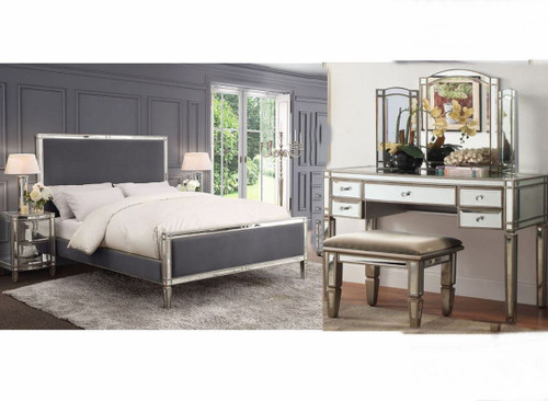 ROCHEST  QUEEN MIRRORED VELVET FABRIC 5 PIECE DRESSER BEDROOM SUITE  -  (18-15-3-8-5-12-12-5) - STORM GREY / SILVER