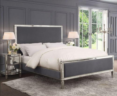ROCHEST  KING MIRRORED VELVET FABRIC 3 PIECE BEDSIDE BEDROOM SUITE  -  (18-15-3-8-5-12-12-5) - STORM GREY / SILVER