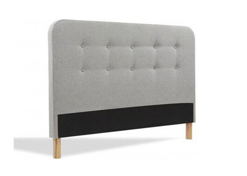 DOUBLE BRAYNON BUTTONED LINEN FABRIC UPHOLSTERED BEDHEAD (2-18-1-25-4-514) - GREY
