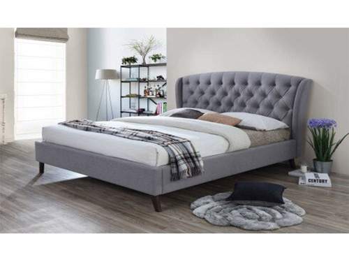 QUEEN OXFORD WINGED FABRIC BED FRAME - GREY